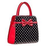 Banned Mujer Mujer Nuevo Vintage 1950s diseño de lunares lazo cuadrado Bolso Bolsa Excelente Calidad, color Rojo, talla Talla única