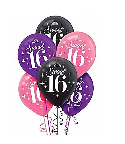 HKBalloons Celebrate Sweet 16 Birthday Balloons( Pack of 30) (Pink, Purple, Black)