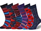 Easton Marlowe - Lot 6 paires - Chaussettes Fantaisie Homme Motif Coton Peigné - 6pk #10, mixed - bright colors, 43-46 EU shoe size