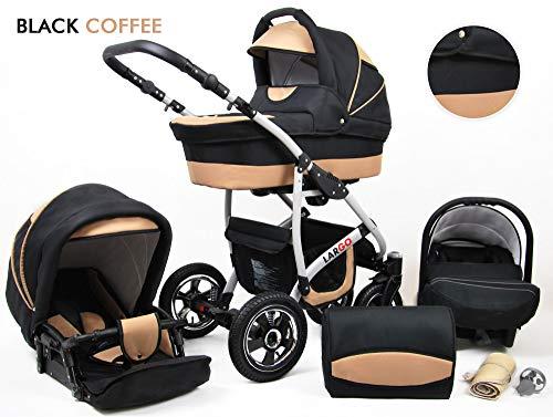 *Kinderwagen Largo, 3 in 1- Set Wanne Buggy Babyschale Autositz (Black Coffe)*