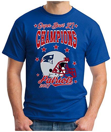 OM3 - PATRIOTS-CHAMPIONS - T-Shirt New England American Football Tee 2017 Super Bowl 51 LI Houston Texas USA, XXL, Royalblau