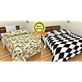 TRUSTFUL Blue Multi Floral & Black White Check Design Prints Single Bed Reversible AC Blanket | Dohar | Quilt | Comforter | Duvet (Combo Set Of 2, Cotton)
