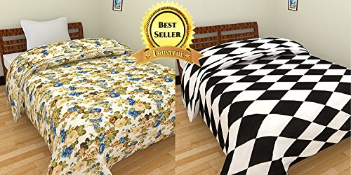 TRUSTFUL Blue Multi Floral & Black White Check Design Prints Single Bed Reversible AC Blanket | Dohar | Quilt | Comforter | Duvet (Combo Set Of 2, Cotton)