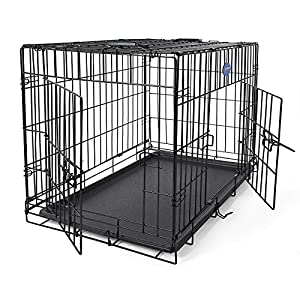 """Songmics Dog Puppy Cage Foldable Metal Pet Carrier 2 Doors with Tray 24"""" 30'' 36"""" 42'' 48'' (Alternative colors)"""