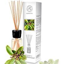 Diffusore di profumo per ambiente sandalo 100 ml, con 8 bastoncini di bambù, olio essenziale naturale, fragranze naturali intenso e duraturo, alcool 0%, profumo in camera per aromatizzare l'aria interiore per la camera, diffusori a lamella, diffusore a lamella di fragranza, la cucina, il bagno, la casa, l'ufficio, aromaterapia, ottimo per aromi naturali, rinfrescante, in vetro, da AROMATIKA