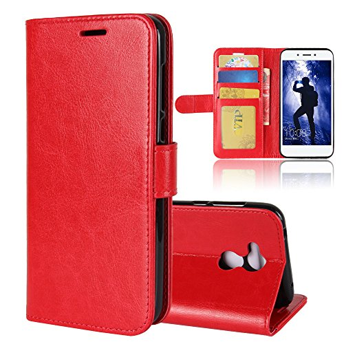 CaseFirst Huawei Honor 6A Case, Huawei Honor 6A Wallet Case, Leather Cases, Premium Slim Leather Wallet Back Case with Credit Card ID Holder Protective Cover for Huawei Honor 6A,Red