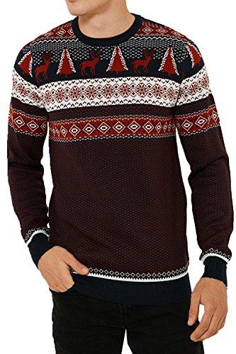 Adulti Threadbare Novelty Christimas Babbo Natale Pinguino natalizio lavorato a maglia Maglioni Fairisle Xmas - Navy Red Taglia-L-107 cm- 112 cm petto