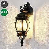 Lampenwelt Wandleuchte außen 'Theodor' dimmbar (spritzwassergeschützt) (Retro, Vintage, Antik) in Schwarz aus Aluminium (1 flammig, E27, A++) | Außenwandleuchten Wandlampe, Led Außenlampe, Outdoor