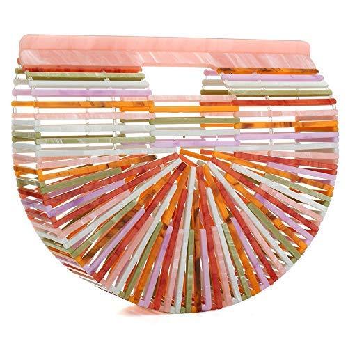 HT Acrylic handbag - Bolso al hombro para mujer arcoíris