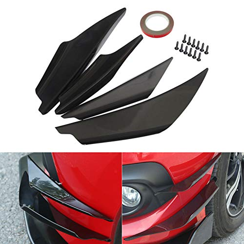 omufipw 4er Pack Carbon Auto Frontstoßstange Lippensplitter Karosserie Spoiler Seiten Canards Splitter Flossen Universal Schwarz