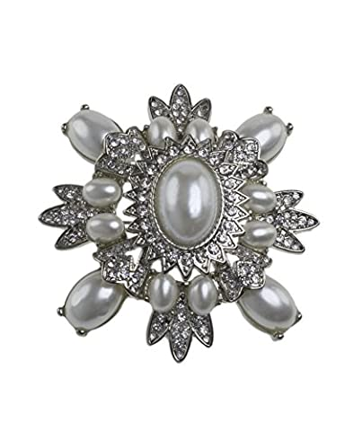 Kenneth Jay Lane Women's Silver Plated Oval White Pearls Center Shield Crystals Brooch