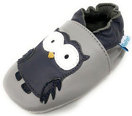 MiniFeet Prime Chaussures Bébé en Cuir Souple, Oliver la Hibou Gris 12-18 Mois