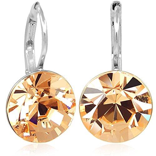 Ohrringe mit Kristallen von Swarovski® Silber Pfirsich Damen-Ohrhänger NOBEL SCHMUCK