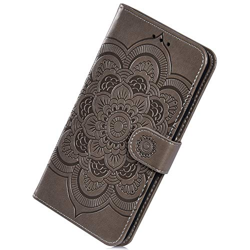 Herbests Kompatibel mit Samsung Galaxy S10 Handyhülle mit Mandala Blumen Muster Motiv Hülle Leder Schutzhülle Flipcase Brieftasche Wallet Tasche Magnetverschluss Stoßfest Cover Case,Grau