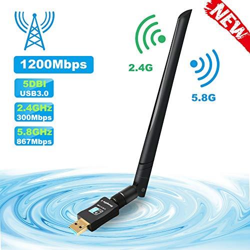 ShangQia Adaptador WiFi 1200Mbps Receptor WiFi USB 3.0 Tarjeta Red WiFi Dongle Dual Band 2.4G / 5G 802.11 AC 5dBi Antena WiFi para Soporte Windows 10/8 / 8.1/7 / Vista/XP/Mac OS