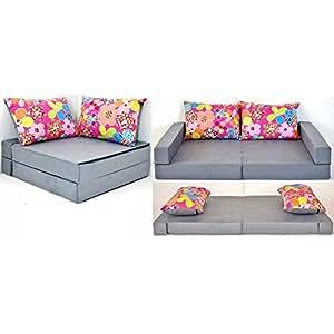 Canapé enfant lit pour enfant meuble Collage 3en1 (gris fleur A12)
