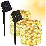 [2 Pack] Guirnalda Luces Exterior Solar, Cadena de Luces 10 Metros 100 LED, 8 Modos de Luz, Impermeable Decoración Luces para
