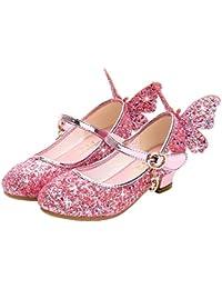 YOSICIL Zapatos de Princesa de Bowknot para Niños Zapatos Bailarinas Sandalias de Vestir Tacón Alto Zapatos de Lentejuelas Velcro Zapatillas para Disfraz de Fiesta Cumpleaños Carnaval EU26-38