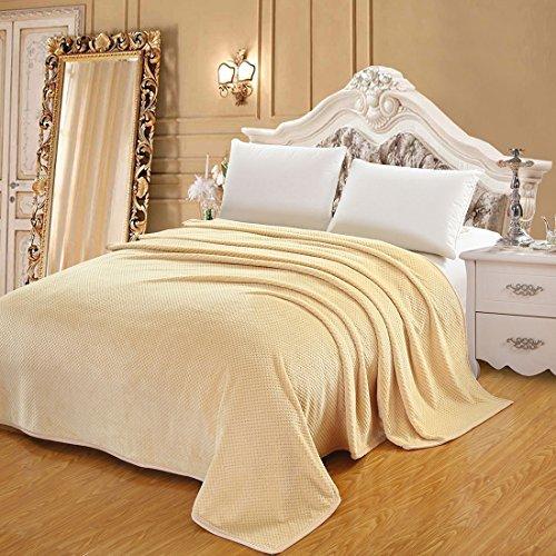Dealmux 330 gsm flanella di lusso morbido accogliente lancio caldo divano-letto coperta (reversibile / tessuto / fuzzy) queen size beige