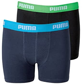 Puma Basic - Boxer - Lot de 2 - Uni - Mixte Enfant - Bleu Fonce/Turquoise et Noir/Vert - 128, 7-8 ans