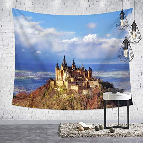 Lartum Tapestry Wall Hanging,Nordic Moderne Burg Landschaft Der Böhmischen Psychedelic Hippie Drucken Fabric Wall Tuch Für Zu Hause Wohnzimmer Sofa Hintergrund Wandteppich Strandtuch, 150 X 200 cm -