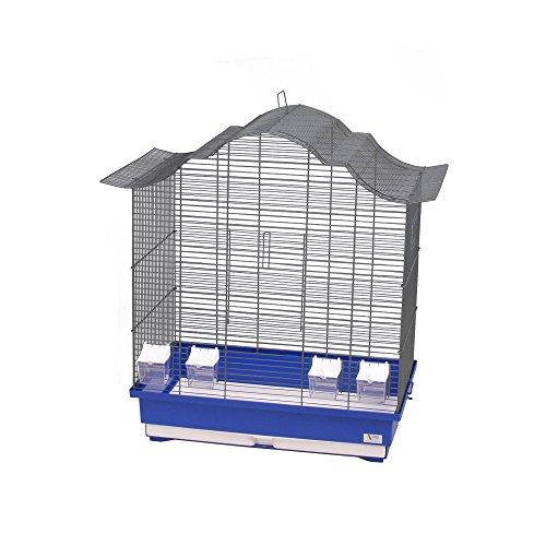 CTC-Trade  Vogelkäfige XXL Blau Außenmaße 70x42x72,5 cm Urlaub Reisekäfig Zubehör Wellensittich Kanarienkäfig Futternapf Plastik Vogel Modell Asia 60
