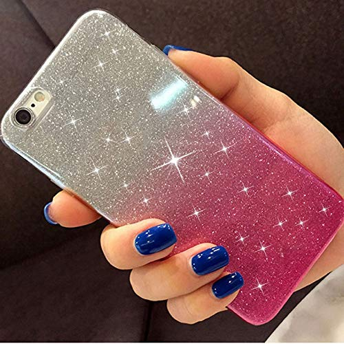 fdsgh Lovely Girl Glitter Soft Silicone Case for Samsung Galaxy S8 S9 Plus A6 A8 A7 2018 A750 J2 Pro J8 J4 J6 S6 S7 Edge A3 A5 Cover,Blue,(A7 2018 A750)