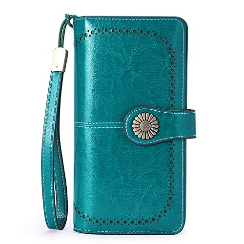 SENDEFN Genuine Leather Capacity RFID Blocking Purses for Women with 26 Card Slots and Wrist Strap