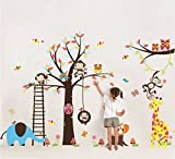 Colorfulworld ® Großer Baum with Jungle Zoo &Giraffe Monkey Elephant Bird Wall Stickers Decal Paper for Children Room Gift (1213)