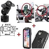 COMPATIBILE CON PIAGGIO BEVERLY 300 i.e. PORTA SMARTPHONE TELEFONO SPECIFICO PER IPHONE X-XS + ATTACCO ASTA PER SPECCHIETTI, TELAIETTI E TRAVERSINI CON MORSETTO Ø 9-14 MM LAMPA