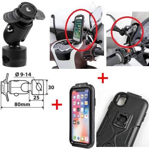 für Honda DIO 50 ZX Halter Smartphone SPEZIFISCHES Telefon FÜR iPhone X-XS + AUKTIONSSTANGE FÜR Spiegel, Rahmen UND KREUZSTÜCKE MIT KLEMME Ø 9-14 MM LAMPA (Honda Dio Zx)