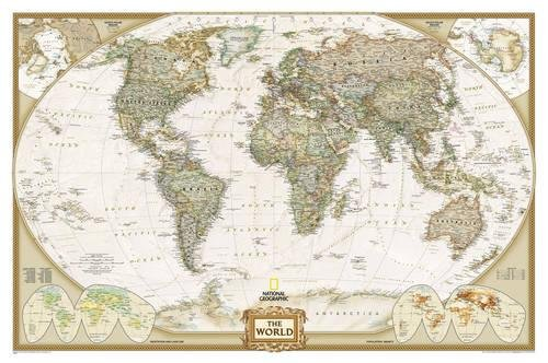 World Executive, laminated : Wall Maps World: PP.NGW622085: Laminated Executive Line (World Maps)