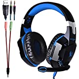 KOTION EACH G2000 Professional 3.5mm PC LED Light Gaming Bass Stereo Noise Isolation Over-ear Headset Headband With Mic Microphone HiFi Driver For Laptop Computer - Volume Control (Black-Blue)