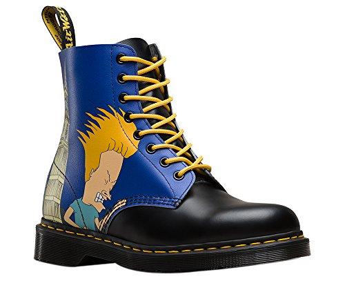 Dr Martens X Beavis & Butthead Pascal Bottes Chaussures En Cuir Imprimé Dessin Animé (Multicolore) Bleu