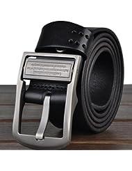 """Cinturones cuero completo grano correa HOMBRES de cuero para los hombres con un puncher de agujero del cinturón bono Metal ancho de 1,4"""" todos tamaños Ideal de Navidad para hombre LP2013062 , black"""