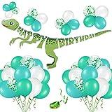 Phogary 52PCS Dinosaurier Geburtstag Party Deko Kit: 1 Dinosaurier-Alles Gute zum Geburtstag Banner, 50 Grün & Weiß & Konfetti Ballons mit String - Party Supplies begünstigt