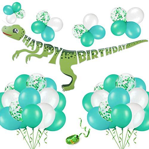 urier Geburtstag Party Deko Kit: 1 Dinosaurier-Alles Gute zum Geburtstag Banner, 50 Grün & Weiß & Konfetti Ballons mit String - Party Supplies begünstigt ()