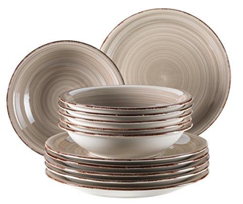 MÄser domestic by, serie bel tempo, dipinta a mano in ceramica servizio da tavola 12pezzi, per 6persone, nel colore grigio,
