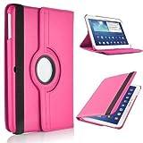 Drehbare Klapphülle für Samsung Galaxy Tab 4 10.1 Zoll, Tablet-Abdeckung aus PU-Leder, 360 Grad drehbare Standhülle, für Tablet SM-T530N, SM-T535, Tablet Pink