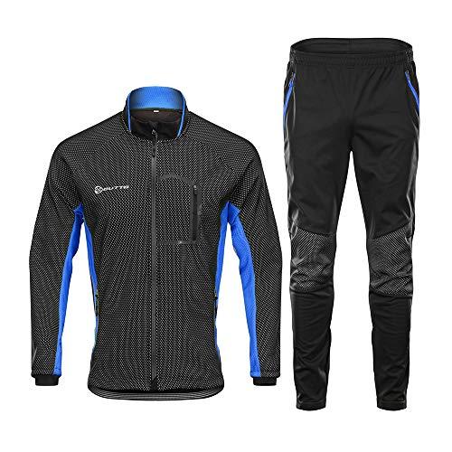 d.Stil Herren Fahrradbekleidung Set Langarm Fleece UV- Schutz Radjacke + Fahrradhose M - 3XL (Schwarz-Blau, XL)