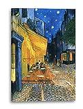 Vincent van Gogh - Nachtcafé/Nachts vor dem Café an der Place du Forum in Arles (1888), 60 x 80 cm (weitere Größen verfügbar), Leinwand auf Keilrahmen gespannt und fertig zum Aufhängen, hochwertiger Kunstdruck aus deutscher Produktion (Alte Meister bis Moderne Kunst). Stil: Impressionismus, Expressionismus