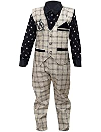 ahhaaaa Boy's Cotton Waistcoat, Shirt And Trouser Set