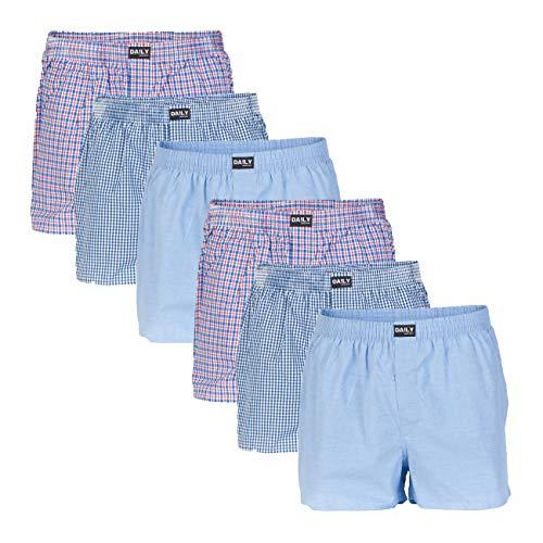 Daily Underwear Herren Webboxer Boxershorts 6er Pack, Größe:XXXL;Farbe:Farbkombi 99/2