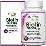 Vitaminas para el crecimiento del cabello Incite Nutrition Biotin, 10000MCG, 200 tabletas de 6 mm