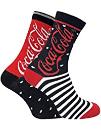 4c52b9784292 Coca Cola - 2 Pairs Ladies Coloured Funky Stars Striped Patterned Novelty  Cotton Socks