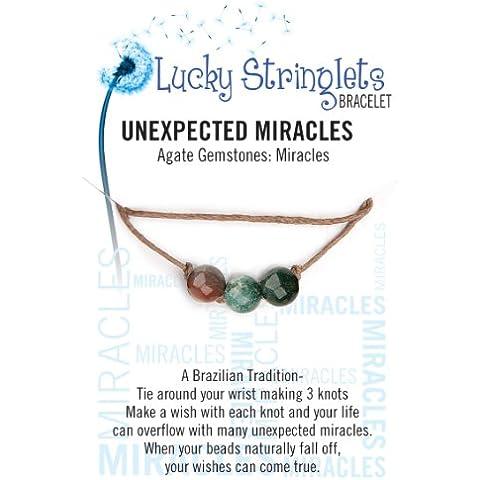 zorbitz Inc suerte cadena permite pulsera ágata piedras preciosas, acrílico, multicolor, 3piezas
