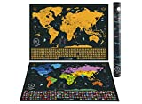 Scratch off The World Map + Personalized Gift Pack – High Detailed Map with Capital Cities, Vibrant Colors, Hidden Iconic Landmarks, World Wonders, Outlined US States and all Country Flags. Gift Bundle Includes Precision Scratch Tool and Travel Memory Stickers, By WanderLust Maps (Deluxe Gold & Black | 61 x 42,7 cm)