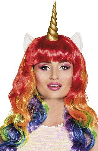 Regenbogen-Einhorn-Perücke-Damen-Abendkleid-Märchen-Tier-erwachsene (Pferd Einhorn Kostüm Für)