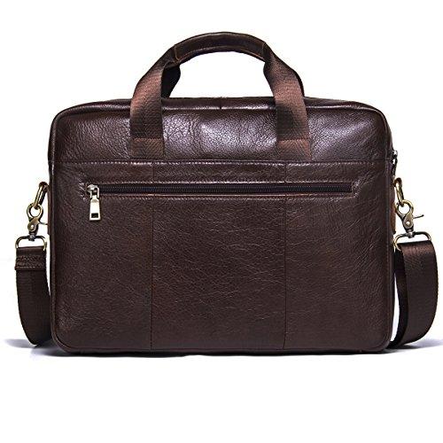 Contatti In Vera Pelle 14 Uomini Borsa A Tracolla Messenger Laptop Briefcase Marrone Scuro Marrone Scuro 2