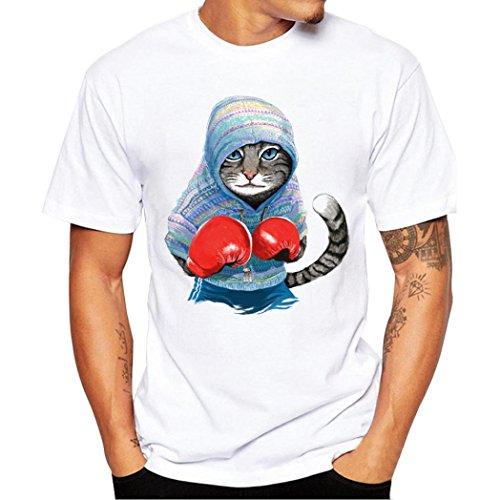 T-Shirts,Honestyi 2018 Männer Frühling und Sommer Mode Gedruckte Personalisierte T-Shirt Kurzarm Shirt Rundhalsausschnitt Slim Fit Einfarbige Sweatshirts Blusen Tops Oversize S-XXXXL (S, Blau)